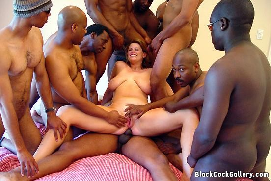 white slut gang bangs black cock